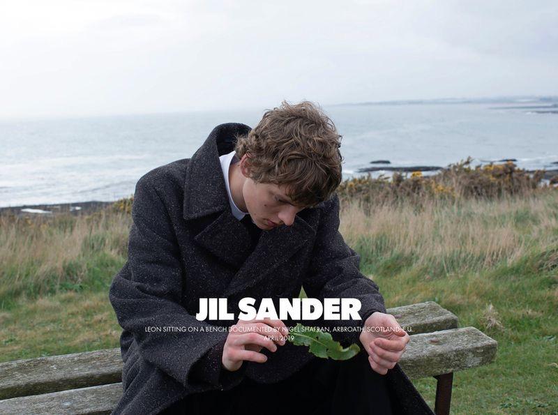Nigel Shafran photographs Leon Dame for Jil Sander's fall-winter 2019 men's campaign.