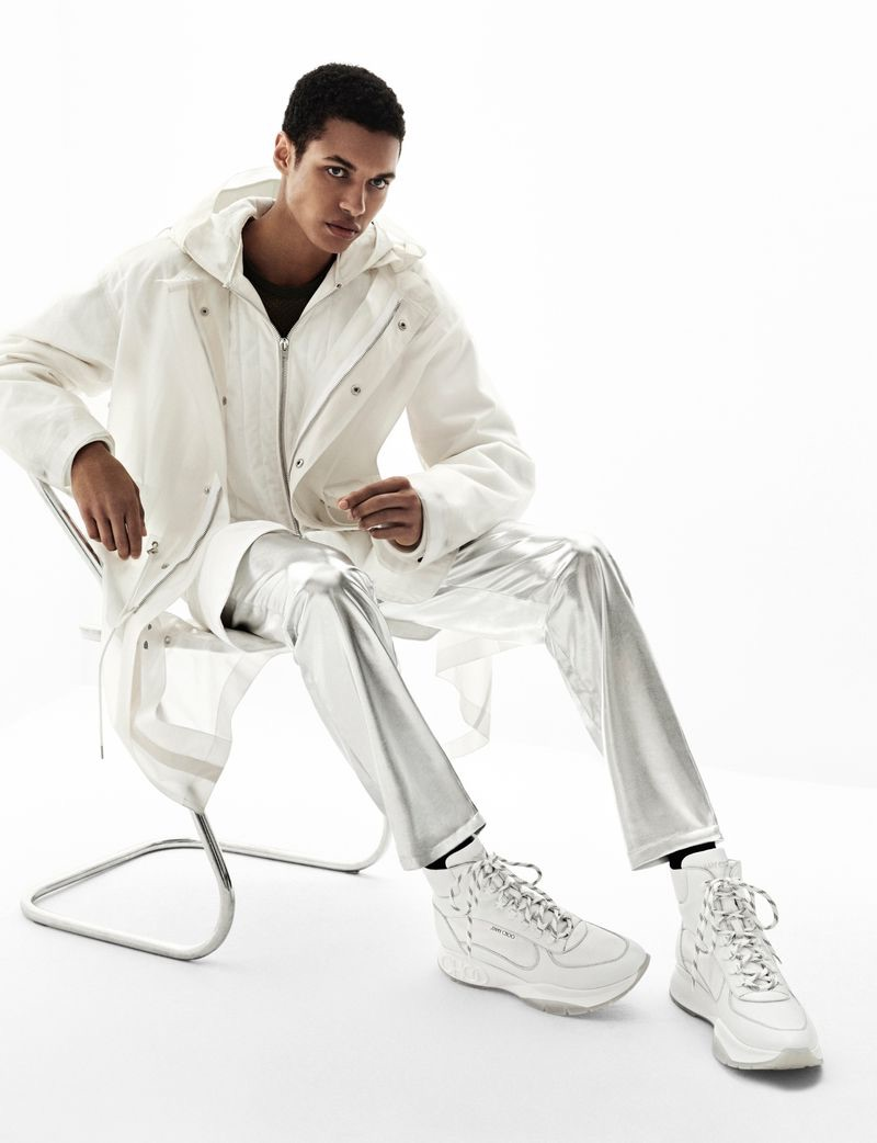 A vision in white, Gilbert Van Damme fronts Jimmy Choo's fall-winter 2019 men's campaign.
