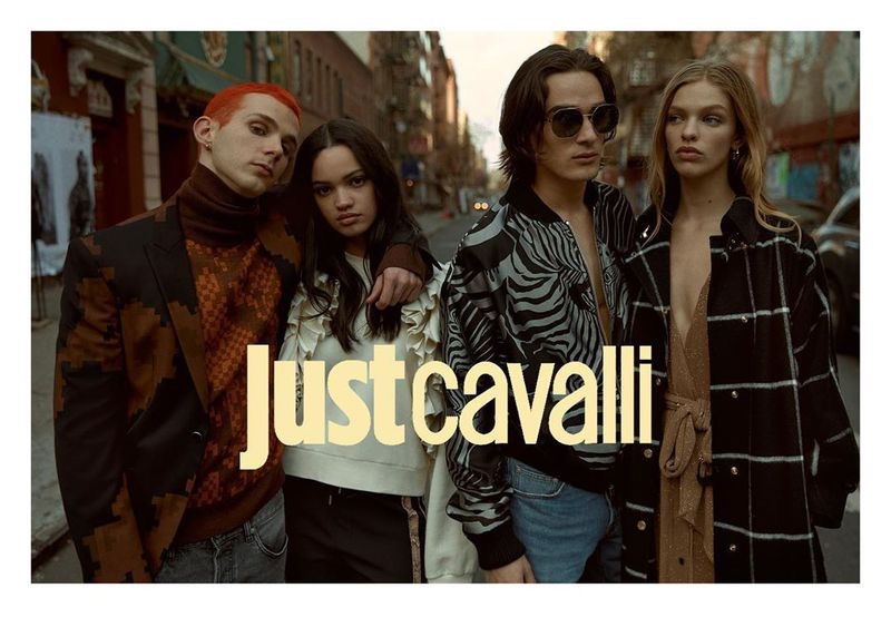 Models Jacopo Olmo, Avril Marion, Dakota, and Clare Crawford star in Just Cavalli's fall-winter 2019 campaign.