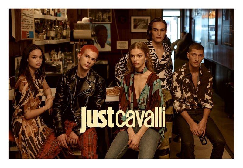 Avril Marion, Jacopo Olmo, Clare Crawford, Dakota, and Julian Cardona star in Just Cavalli's fall-winter 2019 campaign.