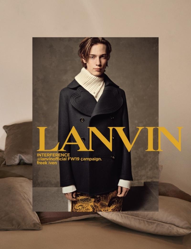 Model Freek Iven appears in Lanvin's fall-winter 2019 campaign.