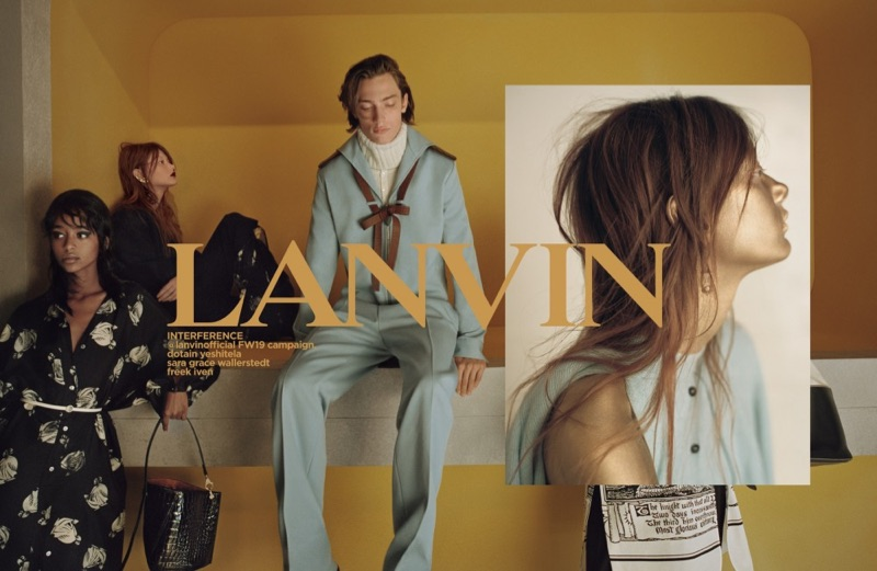 Dotain Yeshitela, Sara Grace Wallerstedt, and Freek Iven star in Lanvin's fall-winter 2019 campaign.