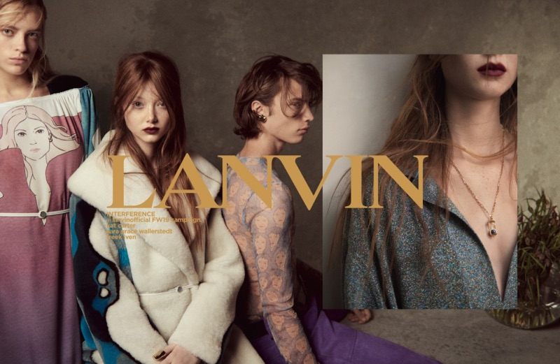 Lanvin taps Kat Carter, Sara Grace Wallerstedt, and Freek Iven as the stars of its fall-winter 2019 campaign.