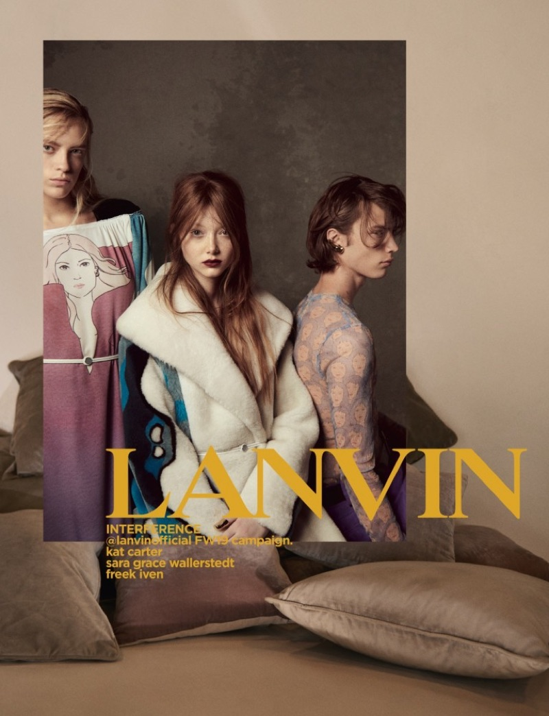 Kat Carter, Sara Grace Wallerstedt, and Freek Iven front Lanvin's fall-winter 2019 campaign.