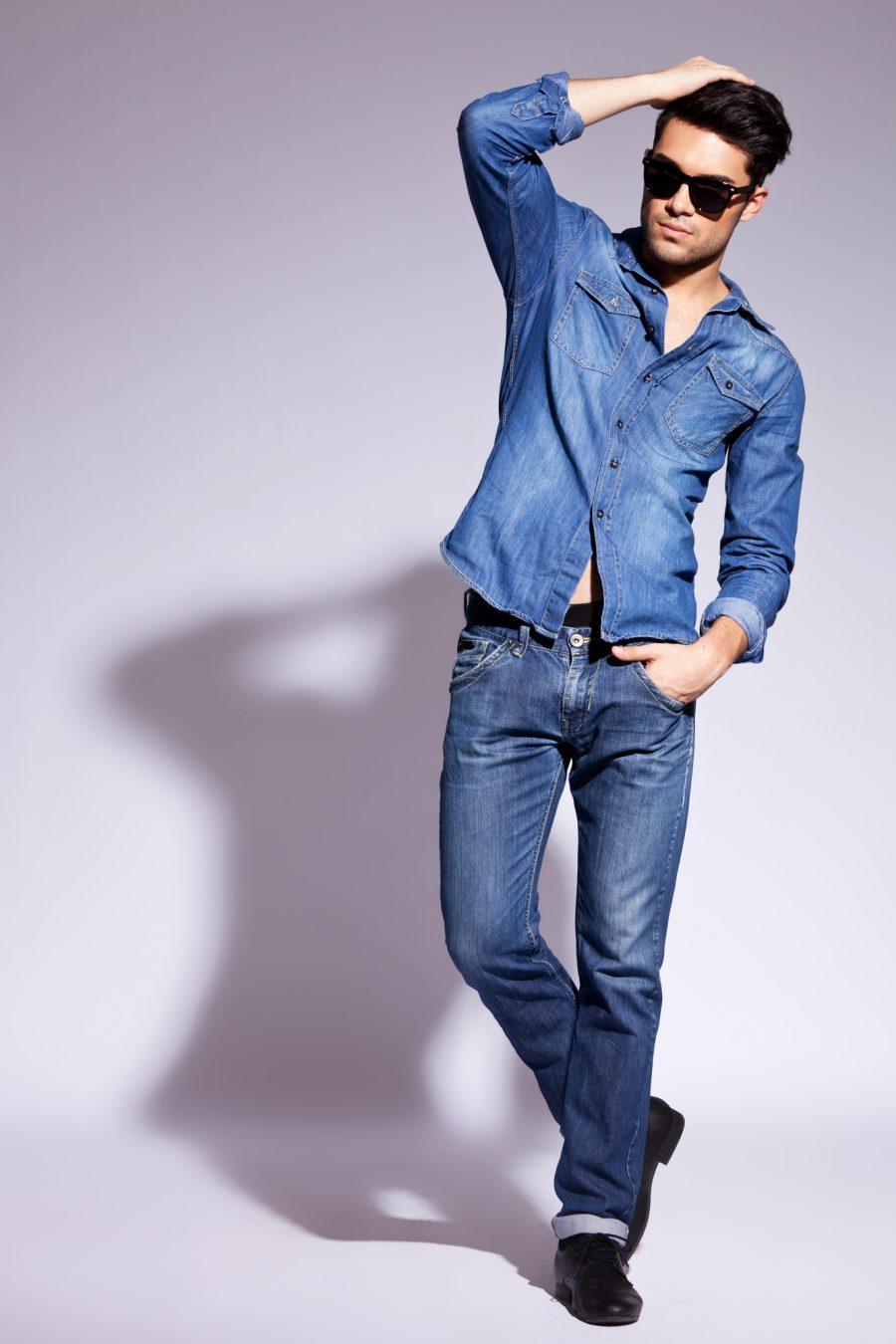 Latin Male Model Double Denim Style