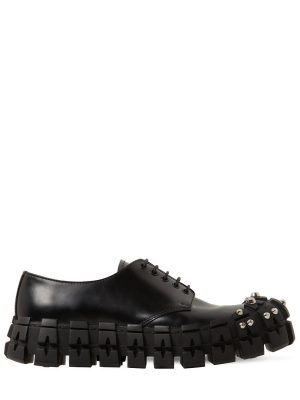 Leather Studded Lace-up Shoes