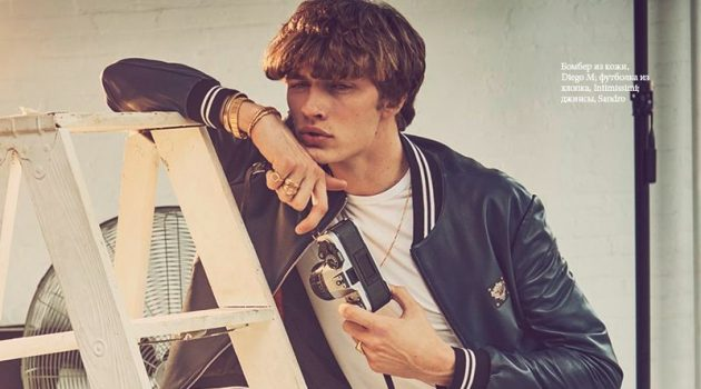 Lucky Blue Smith stars in a fashion editorial for Elle Russia.