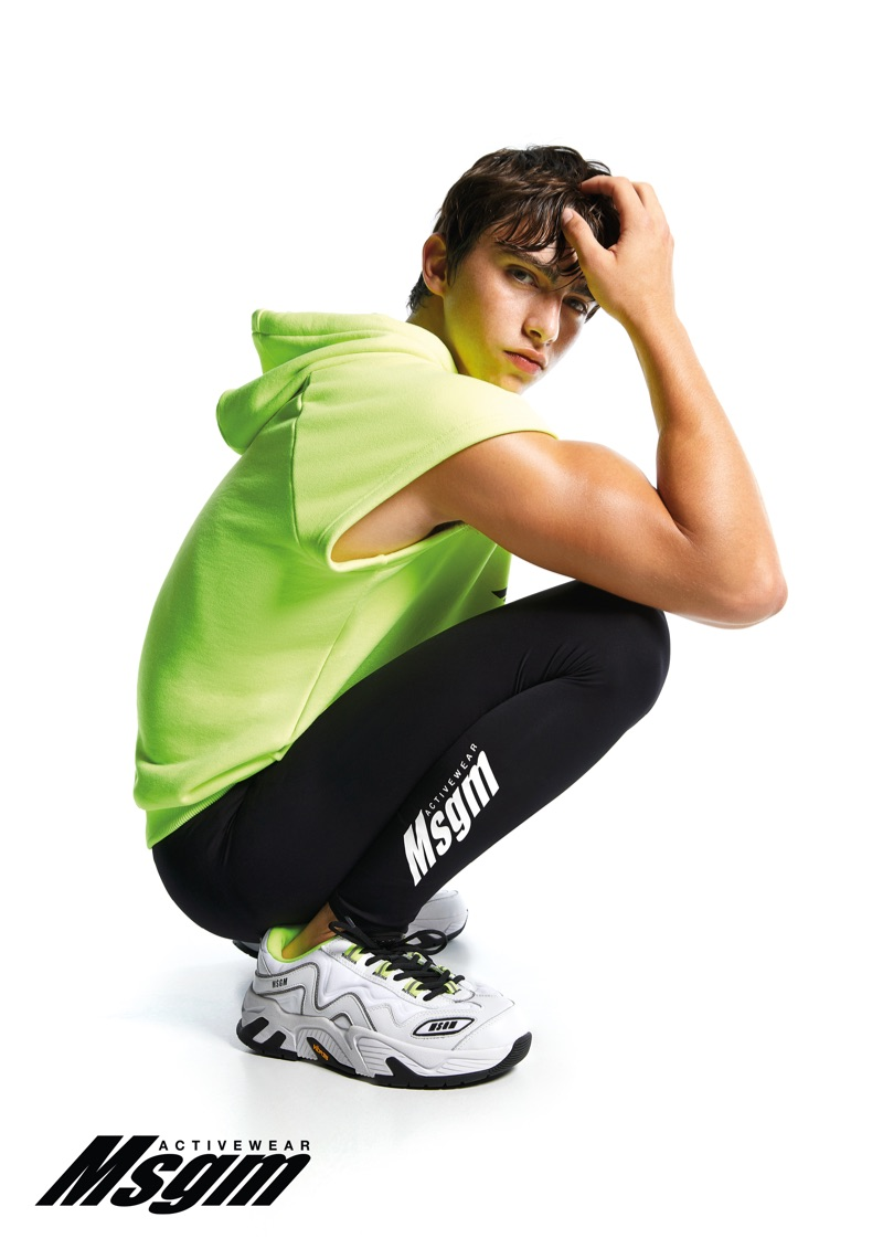 Ron Levi sports activewear from MSGM.