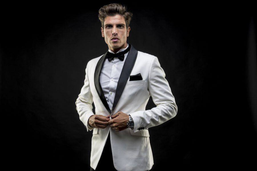 Male Model White Tuxedo Jacket Black Bow-Tie