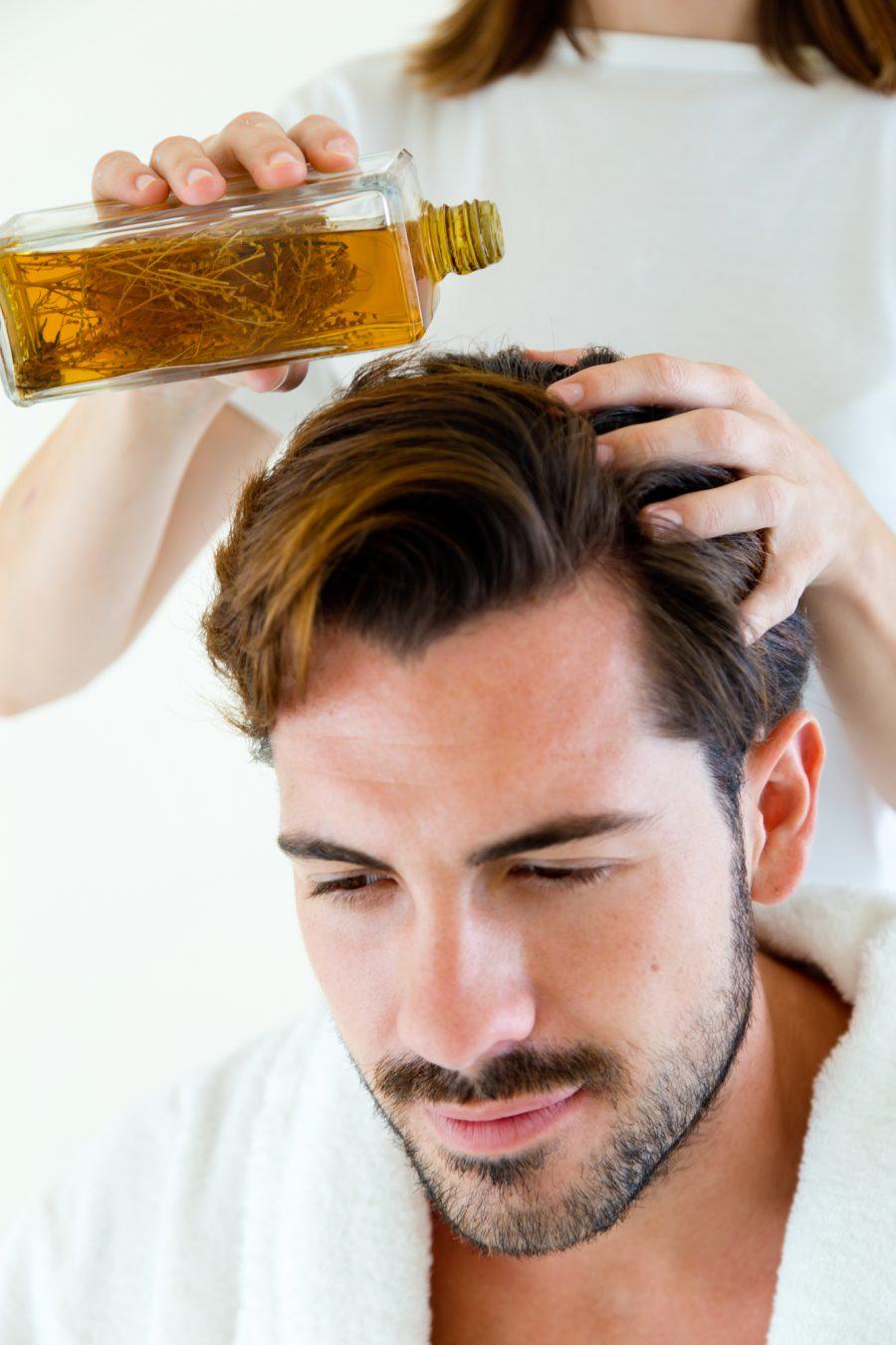 Man Oil in Hair
