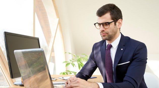 Man Suit Laptop Computer Tablet Office