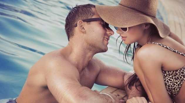 Man Woman Pool Summer Attractive