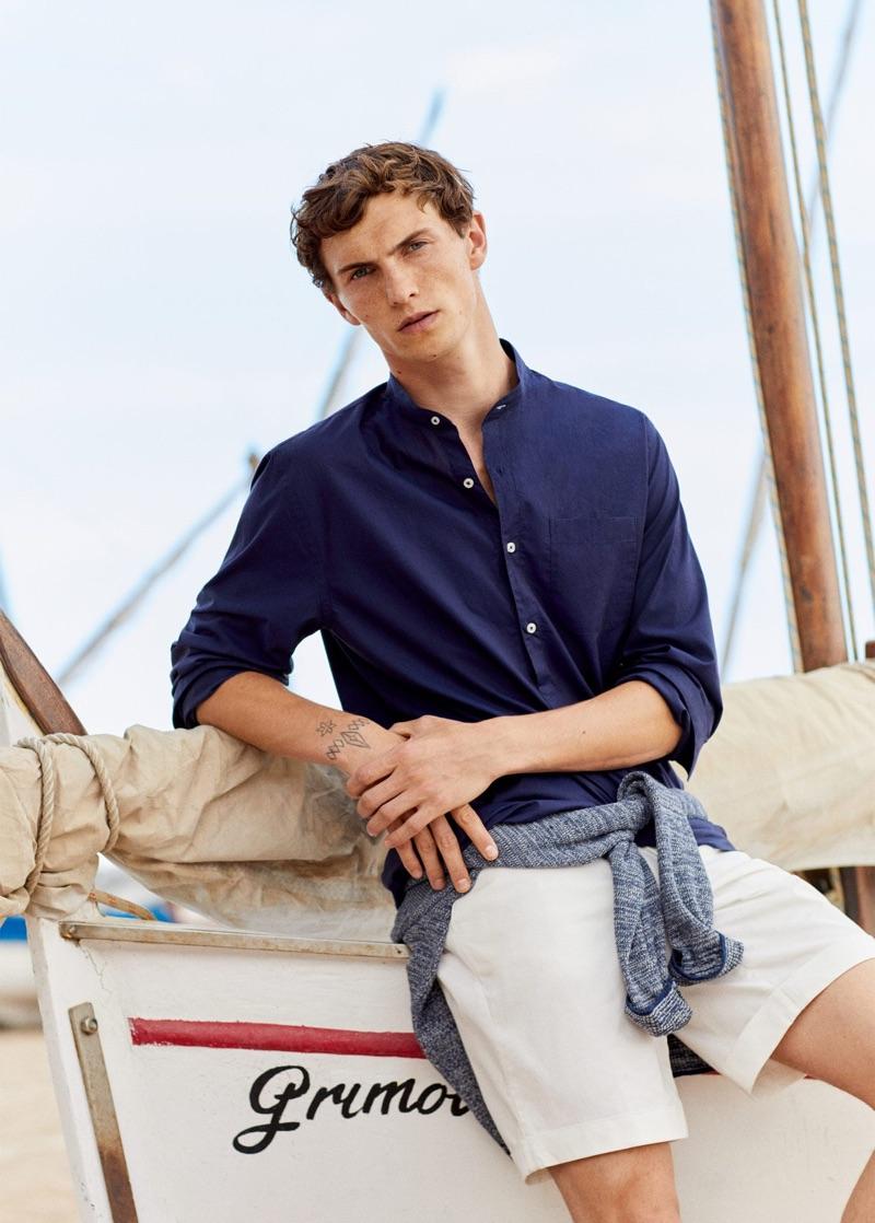 Luc Defont-Saviard wears smart summer style from Mango.