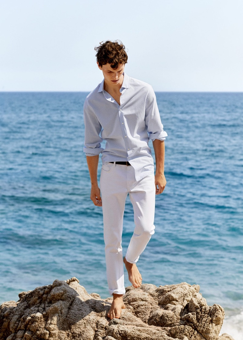 A summer vision, Luc Defont-Saviard embraces timeless style by Mango.