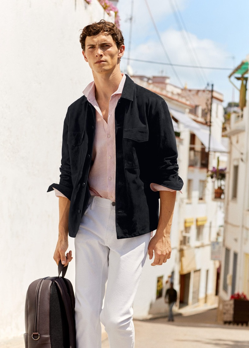 Front and center, Luc Defont-Saviard showcases the latest menswear from Mango.