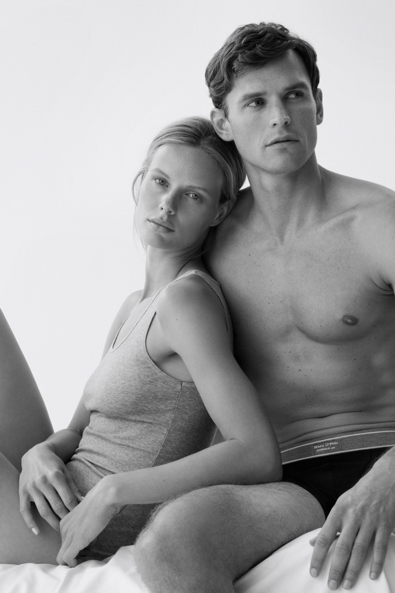 Models Marlijn Hoek and Guy Robinson appear in the Marc O'Polo Body & Beach campaign.