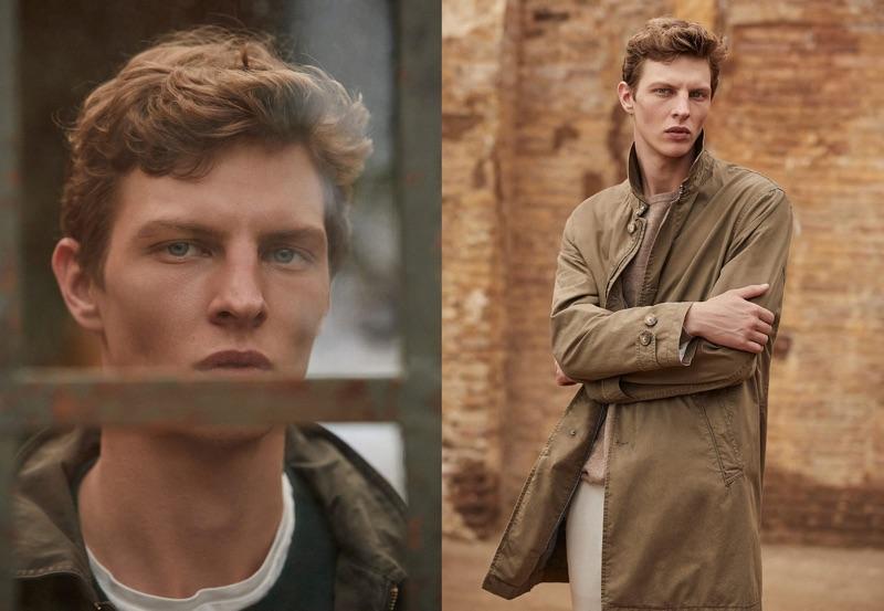 Top model Tim Schuhmacher stars in a menswear editorial for Massimo Dutti.
