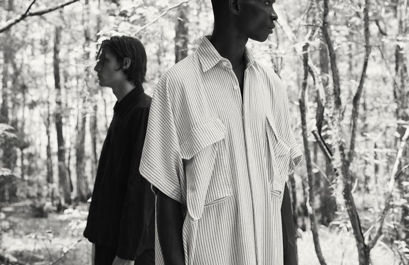 Left: Edoardo Sebastianelli wears a Marané shirt and shorts. Right: Fernando Cabral rocks a striped shirt by Marrakshi Life.