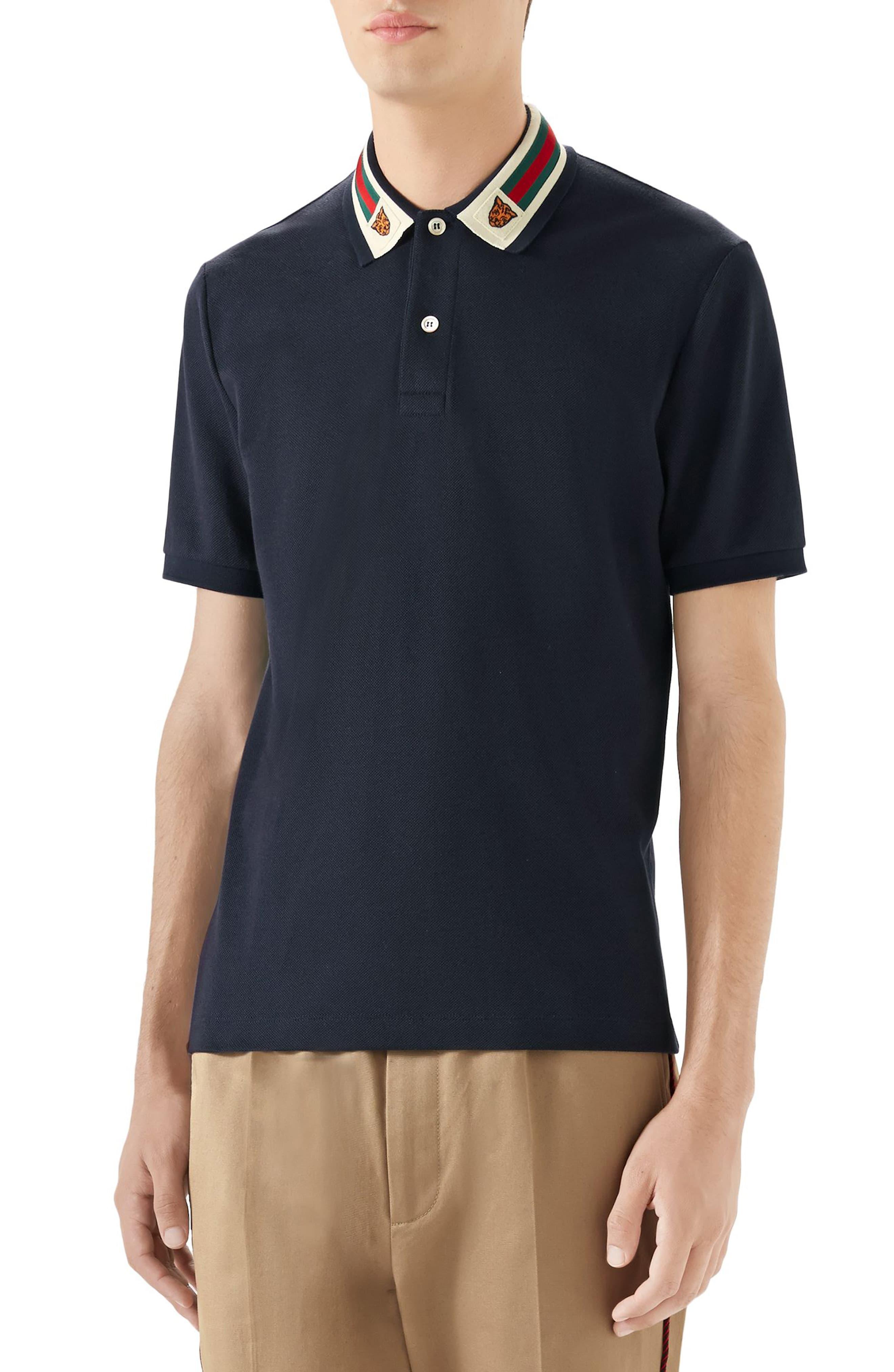 36c36803 Men's Gucci Banding Collar Pique Polo, Size Small - Blue