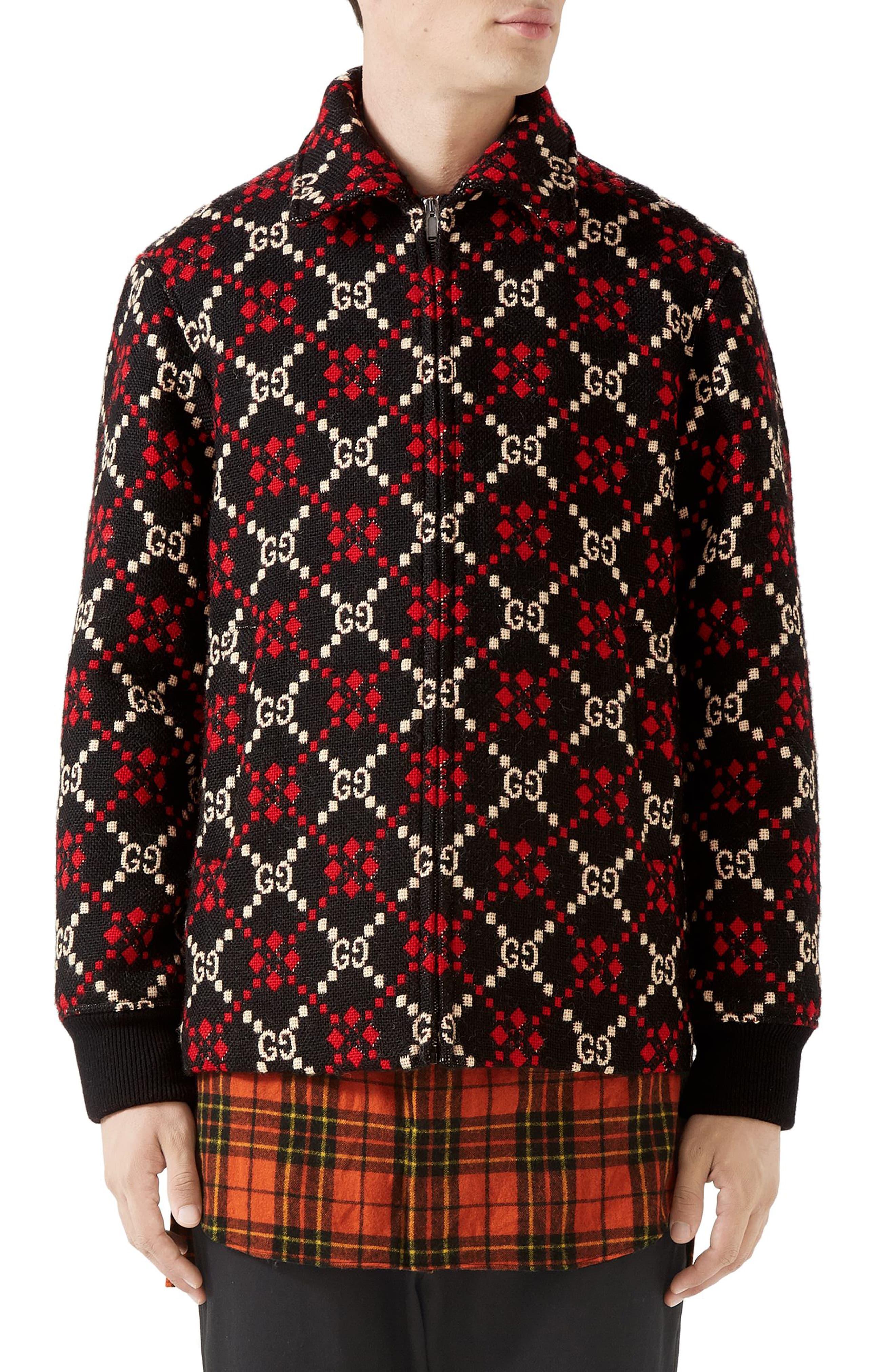 e0e41bbac Men's Gucci Gg Wool Jacket, Size 46 EU - Black