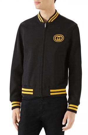 Men's Gucci Jersey Varsity Jacket, Size 56 EU - Black