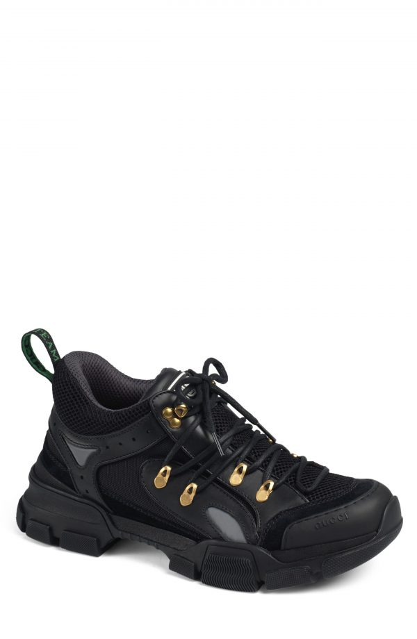 Men's Gucci Leather And Canvas Sneaker, Size 13US / 12UK - Black