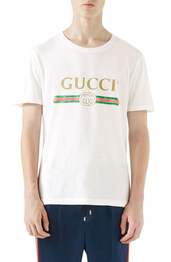 Men's Gucci Logo Graphic T-Shirt, Size X-Small - White