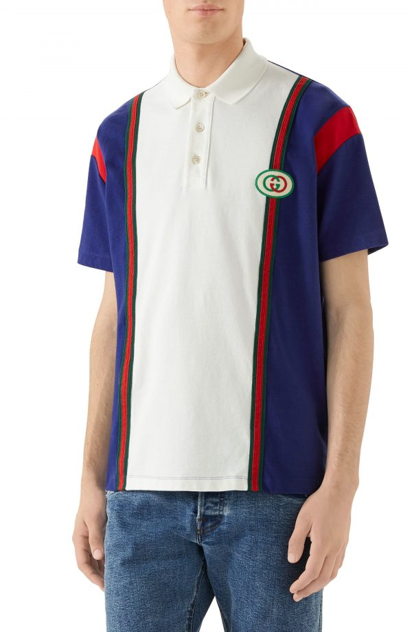 Men's Gucci Logo Patch Colorblock Polo, Size Medium - Ivory