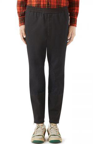 Men's Gucci Military Drill Cotton Pants, Size 48 EU - Black