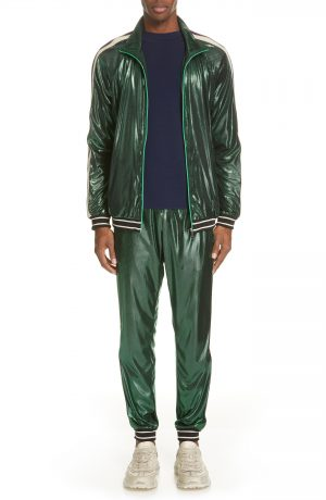 Men's Gucci Shimmer Track Pants, Size Large - Green