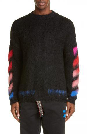 Men's Off-White Diagonal Slim Fit Mohair Blend Sweater