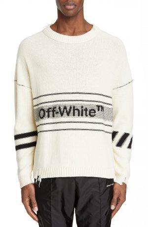 Men's Off-White Logo Sweater, Size Medium - White
