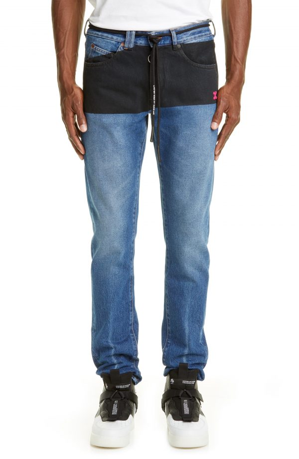 Men's Off-White Slim Fit Jeans, Size 32 - Blue