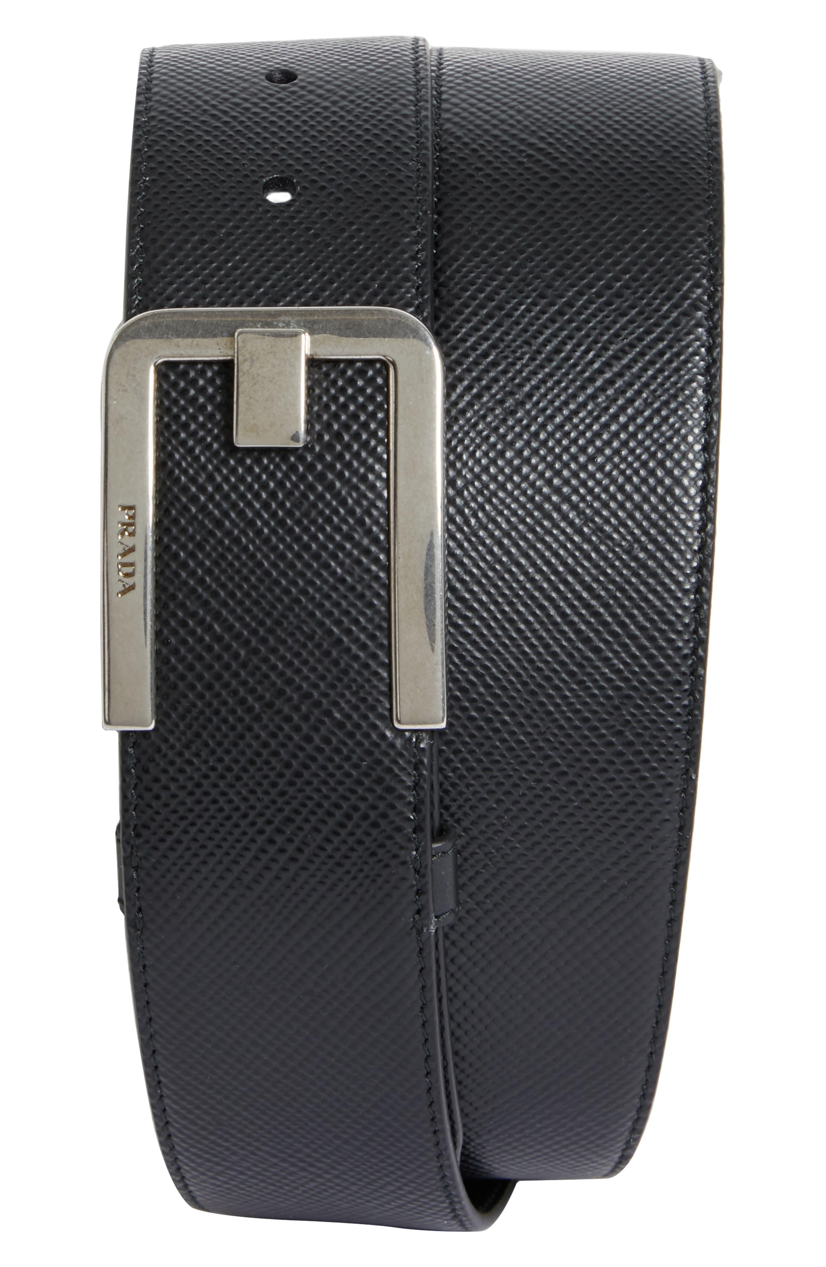 f7be542d Men's Prada Saffiano Leather Belt, Size 100 EU - Black And Silver