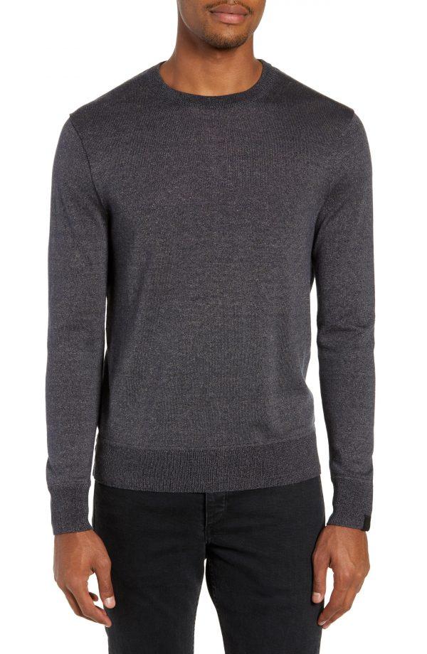Men's Rag & Bone Davis Slim Fit Crewneck Sweater, Size Medium - Grey