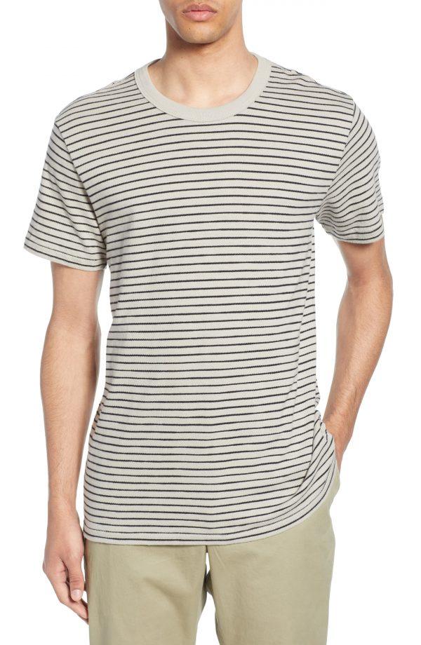 Men's Rag & Bone Railroad Slim Fit Stripe T-Shirt, Size Medium - Beige