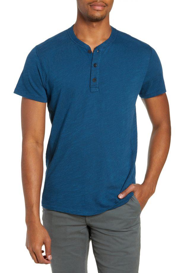 Men's Rag & Bone Standard Issue Henley, Size Small - Blue