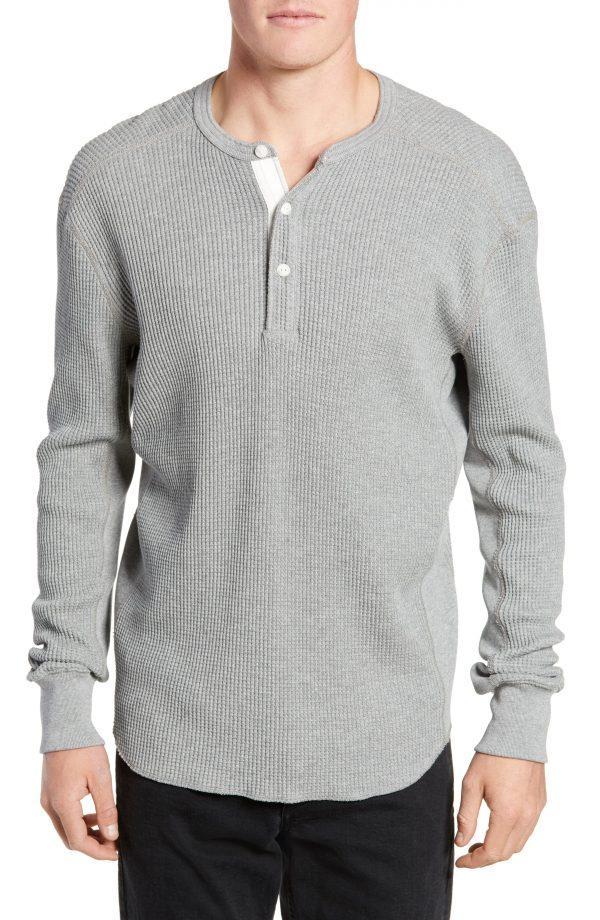 Men's Rag & Bone Waffle Knit Long Sleeve Henley, Size Medium - Grey