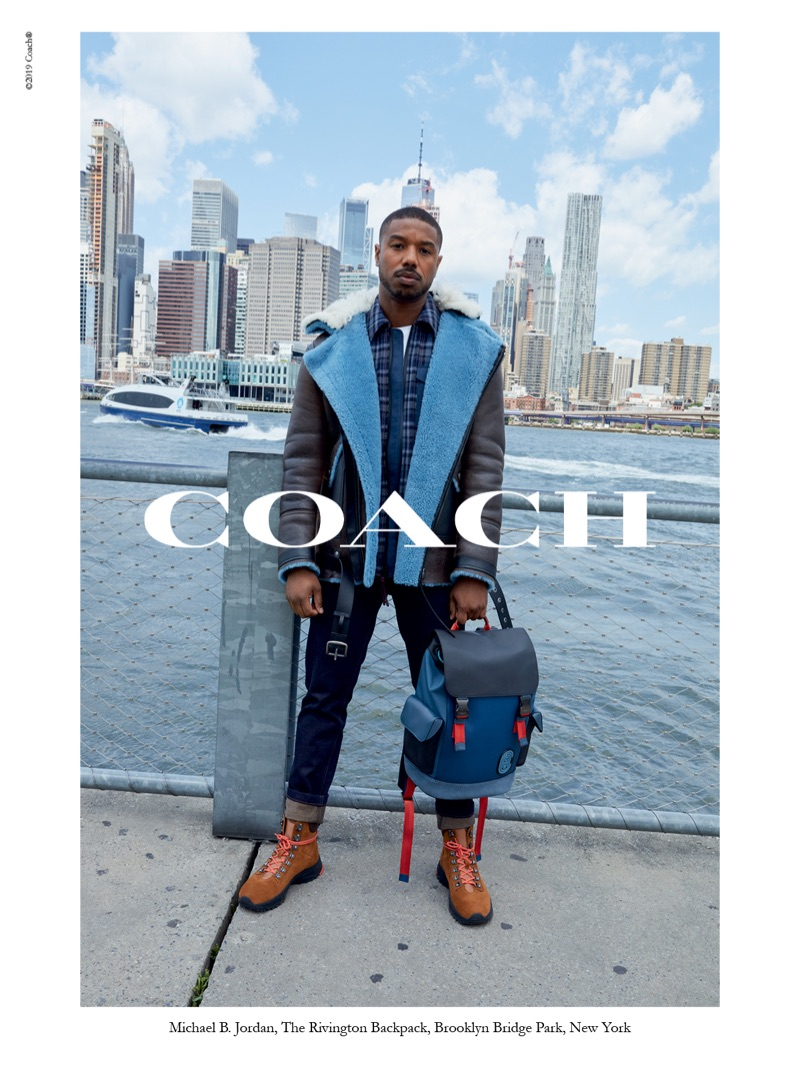 Starring in Coach's fall-winter 2019 men's campaign, Michael B. Jordan poses with The Rivington backpack.