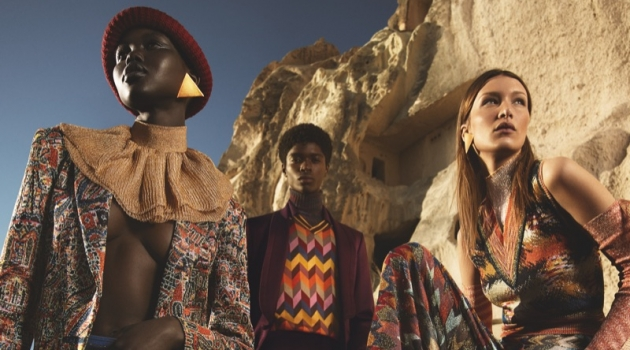 Adut Akech, Alton Mason, Dong Su Moon, and Bella Hadid front Missoni's fall-winter 2019 campaign.