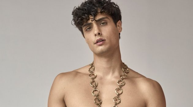 Joshua Sorrentino sports Moschino for a new photo shoot.