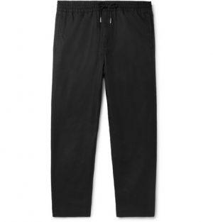 Mr P. - Black Slim-Fit Tapered Linen and Cotton-Blend Drawstring Trousers - Men - Black