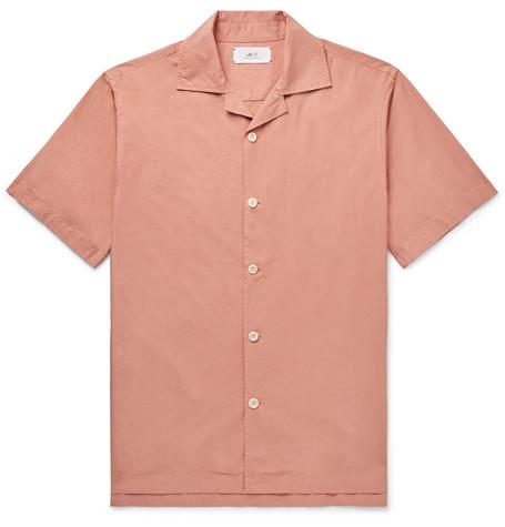 Mr P. - Camp-Collar Garment-Dyed Cotton Shirt - Men - Pink