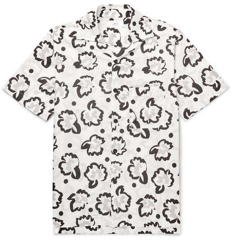 Mr P. - Camp-Collar Printed Cotton-Poplin Shirt - Men - White