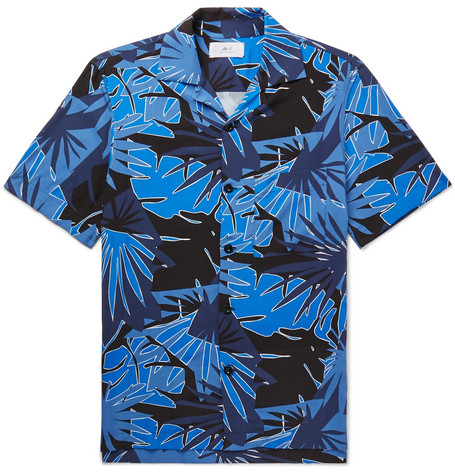 Mr P. - Camp-Collar Printed Voile Shirt - Men - Blue