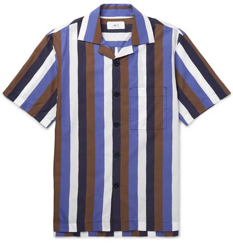 Mr P. - Camp-Collar Striped Cotton-Blend Poplin Shirt - Men - Multi