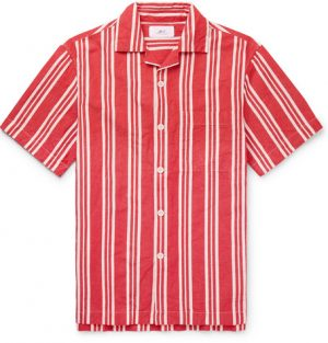 Mr P. - Camp-Collar Striped Cotton and Linen-Blend Shirt - Men - Red