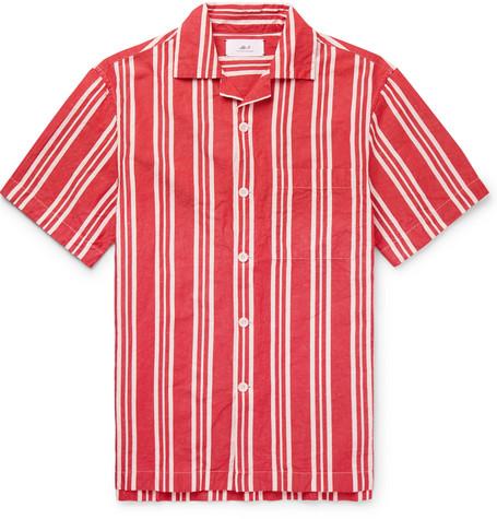 Mr P. - Camp-Collar Striped Cotton and Linen-Blend Shirt - Men - Red