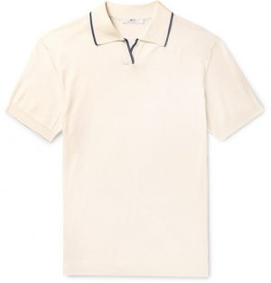 Mr P. - Contrast-Tipped Cotton Polo Shirt - Men - Ecru
