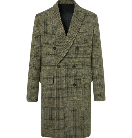 Mr P. - Double-Breasted Prince of Wales Checked Virgin Wool Overcoat - Men - Green